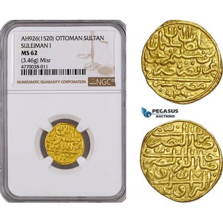 AE784, Ottoman Empire, Egypt, Suleyman, Sultani AH926 (1520) Misr, Gold (3.46g) NGC MS62, Pop 1/0