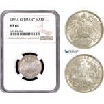 AE785, Germany, Wilhelm II, 1 Mark 1893-A, Berlin, Silver, NGC MS64