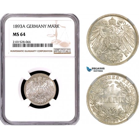 AE785, Germany, Wilhelm II, 1 Mark 1893-A, Berlin, Silver, NGC MS64
