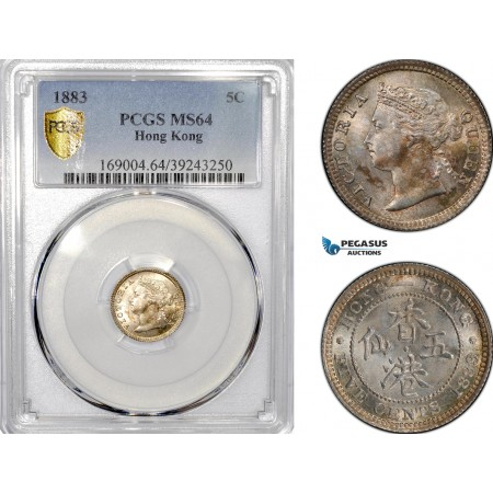 AE787, Hong Kong, Victoria, 5 Cents 1883, Silver, PCGS MS64