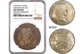 AE789, Italy, Tuscany, Ferdinand III, 10 Paoli (Francescone) 1799, Silver, NGC UNC Det.