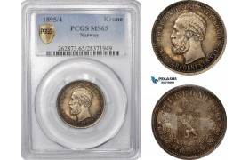 AE790, Norway, Oscar II, 1 Krone 1895/4, Kongsberg, Silver, PCGS MS65, Pop 1/0