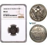 AE791, Russia, Alexander I, 10 Kopeks 1804 СПБ-ФГ, St. Petersburg, Silver, NGC MS62, Pop 1/0