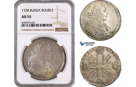 AE793, Russia, Peter II, Rouble 1728, Moscow, Silver, NGC AU53