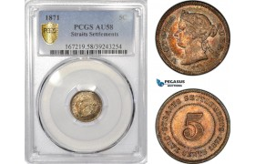 AE795, Straits Settlements, Victoria, 5 Cents 1871, Silver, PCGS AU58