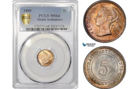 AE796, Straits Settlements, Victoria, 5 Cents 1899, Silver, PCGS MS64
