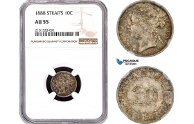 AE797, Straits Settlements, Victoria, 10 Cents 1888, Silver, NGC AU55