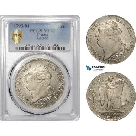 AE799, France, Louis XVI, Ecu 1793-M, Toulouse, Silver, PCGS MS62, Pop 1/0