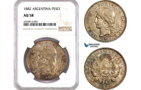 AE807, Argentina, Peso 1882, Silver, NGC AU58, Nicely toned!
