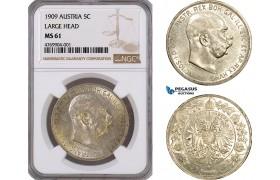 "AE809, Austria, Franz Joseph, 5 Corona 1909, Vienna, Silver ""Large Head"" NGC MS61"