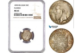 """AE810, Belgium, Leopold II, 50 Centimes /Cents 1898, Brussels, Silver """"Flemish Leg"""" NGC MS65, Pop 2/1"""
