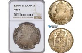 AE811, Bolivia, Charles III, 8 Reales 1780 PTS, Potosi, Silver, NGC AU58
