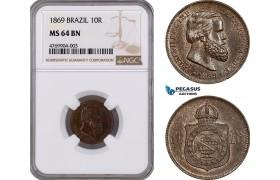 AE812, Brazil, Pedro II, 10 Reis 1869, NGC MS64BN