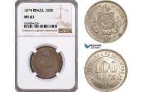 AE813, Brazil, Pedro II, 100 Reis 1874, NGC MS63