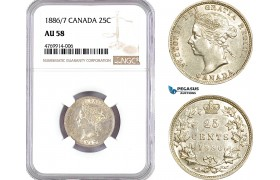 AE815, Canada, Victoria, 25 Cents 1886/7, Royal Mint, Silver, NGC AU58, Pop 1/0, Rare!