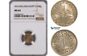 AE831, Ottoman Empire, Egypt, Abdul Hamid II, 1/10 Qirsh AH1293/35-H, Heaton, NGC MS64, Pop 1/1
