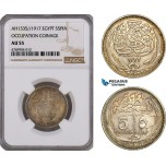 AE832, Egypt, Occupation Coinage, 5 Piastres AH1335 / 1917, Silver, NGC AU55