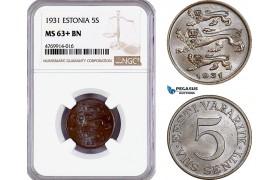 AE834, Estonia, 5 Senti 1931, NGC MS63+ BN