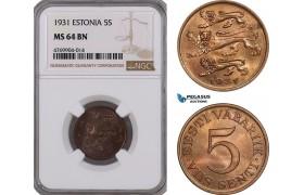 AE835, Estonia, 5 Senti 1931, NGC MS64BN