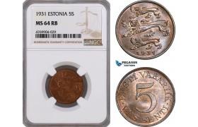 AE836, Estonia, 5 Senti 1931, NGC MS64RB