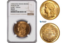 AE846, France, Bronze Medal 1878 (Ø30mm) by Barre, on the Worlds Fair, NGC MS65