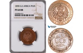AE848, German East Africa (DOA) 1 Pesa 1890, NGC PF64RB