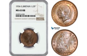 AE849, Great Britain, George V, Half Panny (1/2P) 1936, London, NGC MS65RB