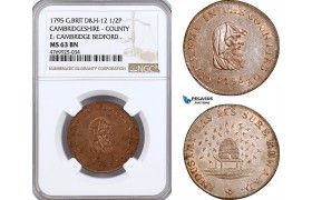 AE850, Great Britain, Bronze Medal (1/2P) 1795, Cambridgeshire County, D&H-12, Beehive, NGC MS63BN