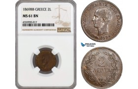 AE851, Greece, George I, 2 Lepta 1869-BB, Strasbourg, NGC MS61BN