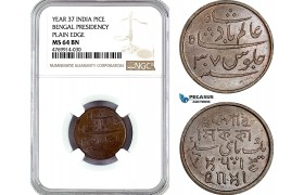 AE853, India, Bengal Presidency, 1 Pice Year 37, Plain edge, NGC MS64BN