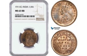AE854, India (British) George V, 1/4 Anna 1911 (C) Calcutta, NGC MS63RB