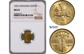 AE859, Lithuania, 1 Centas 1925, NGC MS65