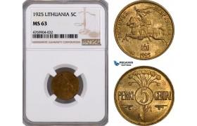 AE860, Lithuania, 5 Centas 1925, NGC MS63