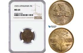 AE861, Lithuania, 5 Centas 1925, NGC MS64