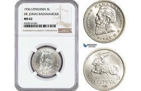 """AE862, Lithuania, 5 Litai 1936, Silver """"Dr. Jonas Basanavicius"""" NGC MS62"""