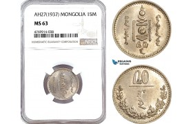 AE864, Mongolia, 15 Mongo AH27 (1937) NGC MS63, Pop 1/1