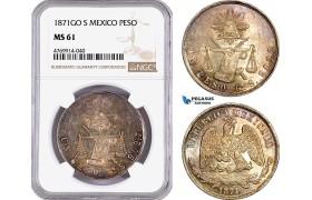 AE866, Mexico, 1 Peso 1871 Go S, Guanajuato, Silver, NGC MS61