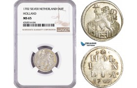 AE867, Netherlands, Holland, Duit 1702, Silver, NGC MS65, Pop 1/0