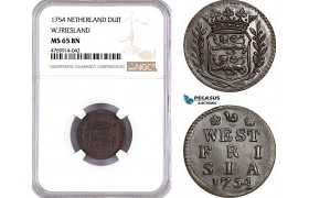AE868, Netherlands, Westfriesland, Duit 1754, NGC MS65BN, Pop 2/0