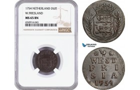 AE869, Netherlands, Westfriesland, Duit 1754, NGC MS65BN, Pop 2/0