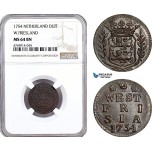 AE870, Netherlands, Westfriesland, Duit 1754, NGC MS64BN