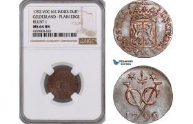 "AE872, Netherlands East Indies, VOC, Duit 1792, ""Gelderland Arms"" Plain edge, Blunt 1, NGC MS64BN, Pop 1/0"