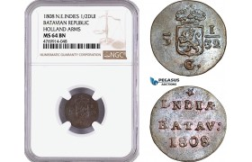 AE873, Netherlands East Indies, Batavian Rep. 1/2 Duit 1808, Holland Arms, NGC MS64BN