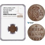 AE874, Netherlands East Indies, Batavian Rep. 1/2 Duit 1809, Holland Arms, NGC MS64BN