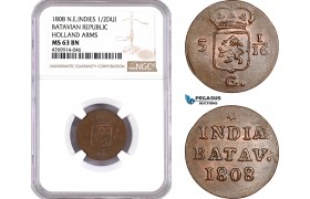AE875, Netherlands East Indies, Batavian Rep. Duit 1808, Holland Arms, NGC MS63BN, (Slab Error as 1/2D)