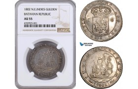 AE876, Netherlands East Indies, Batavian Rep. Gulden 1802, Silver, NGC AU55
