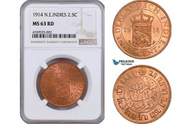 AE877, Netherlands East Indies, 2 1/2 Cent 1914, Utrecht, NGC MS63RD