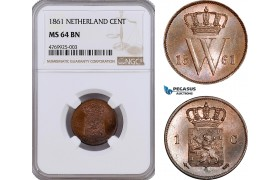 AE878, Netherlands, Willem III, 1 Cent 1861, Utrecht, NGC MS64BN, Pop 1/0