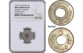 AE882, Palestine, 5 Mils 1939, London, NGC Mint Error MS64, Rare