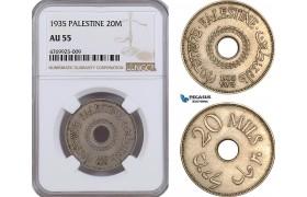 AE885, Palestine, 20 Mils 1935, London, NGC AU55
